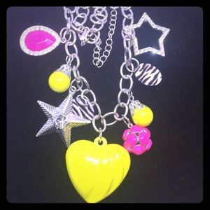 Claire's Neon Heart and Stars Charm Necklace